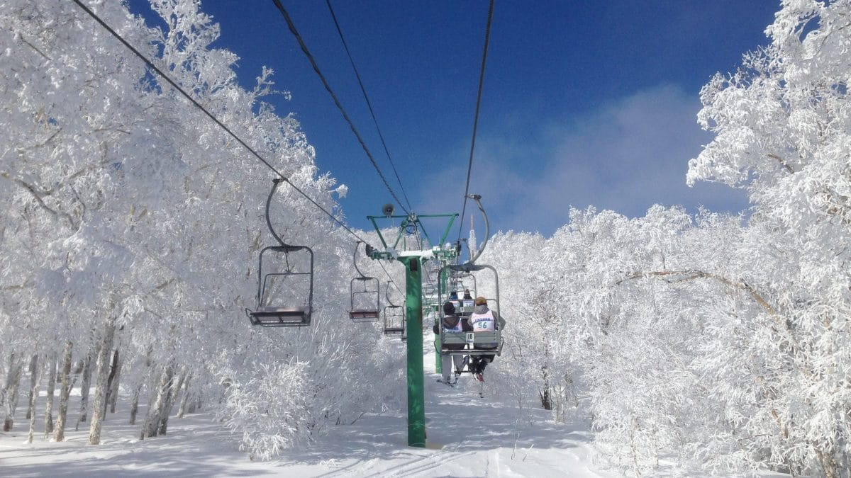Chairlift in old Japanese ski resort